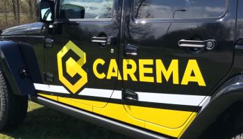 Detail autoreclame voor Carema Jeep